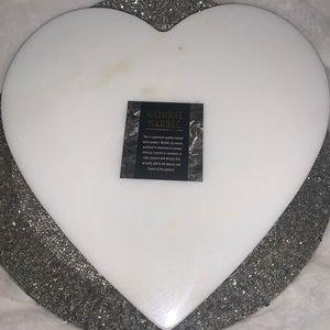 Marble Heart Shaped Tabletop Pedestal Decor